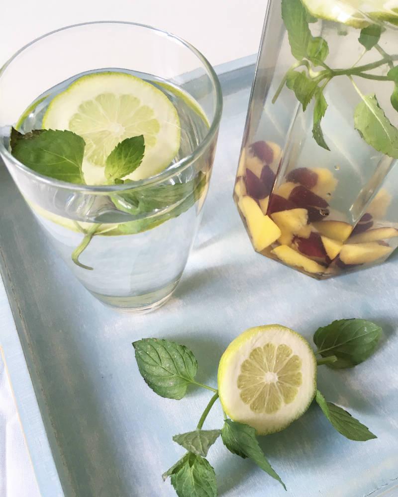 Vitaminwasser: Zitrone, Nektarine, Minze auf www.holisticfitness.de